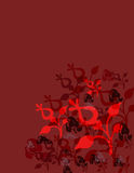 Red floral background. An abstract, illustrated background in red and black with various floral designs Stock Illustration