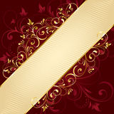 Red floral background with golden template. Background with decorative frame, illustration Stock Photos
