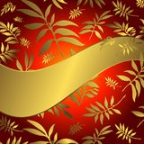 Red floral background with wave banner. Red floral background with wave golden banner and leaves stock illustration