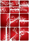 Red Floral Backgrounds. A set of 12 different floral backgrounds in red colors vector illustration