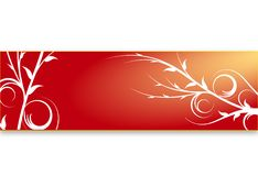 Red floral banner. Banner or border with swirly vines design and gradient background Royalty Free Stock Photography