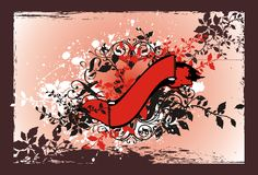 Red floral banner. With decorative elements and retro floral frame Stock Image