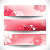 Red Floral banners Stock Photos