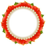 Red Floral Circle Frame Stock Images