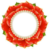 Red Floral Circle Frame Royalty Free Stock Photos
