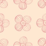 Red floral seamless design on beige background. Red floral design on beige background. Seamless pattern for textile and wallpapers Stock Photo
