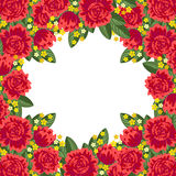 Red floral frame Stock Images