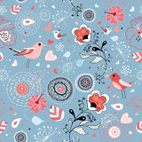 Red floral graphic design with birds Royalty Free Stock Images
