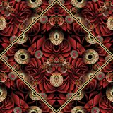 Red floral greek key seamless pattern with paisley flowers. Luxury floral seamless pattern. Modern vector black red gold abstract 3d background. Hand drawn royalty free illustration