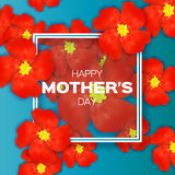 Red Floral Greeting card - Happy Mothers Day - with Bunch of Spring Fower holiday background. Beautiful bouquet with rectangle frame. Abstract Trendy Design Stock Photography