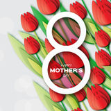 Red Floral Greeting card International Happy Mothers Day. Women's Day with Bunch of Spring Tulips. Flower holiday background. Beautiful bouquet. Trendy Design Stock Images