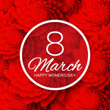 Red Floral Greeting card. International Happy Womens day Stock Image