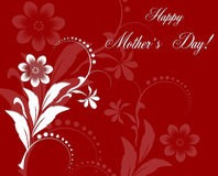 Red Floral Greeting card to  Mother`s Day Stock Image