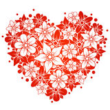 Red floral heart. Vector flowers in the shape of big red heart Royalty Free Stock Image