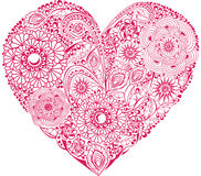 Red floral heart. On white background. Element for your Valentine`s Day Design Stock Photos