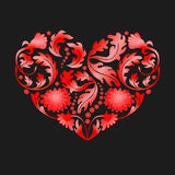 Red Floral Heart on Black Background,  illustration Royalty Free Stock Images