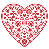 Folk heart  pattern with flowers and birds - Valentine`s Day, wedding, birthday greeting card Stock Photo