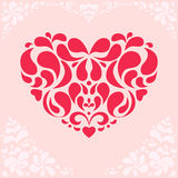Red Floral Heart on Pink Background Stock Images