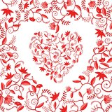 Red floral heart shaped pattern Royalty Free Stock Images