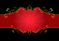Red floral label. Elegance gold and red floral label isolated on black vector illustration