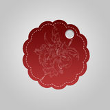 Red floral label. With empty space to fill Stock Image