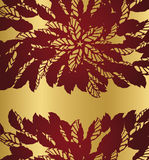 Red floral lace borders on golden background. This image is a vector illustration Royalty Free Stock Image
