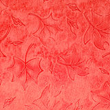 Red floral leather pattern Stock Photos