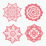 Red floral mandalas set Stock Images