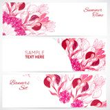 Red floral ornament banners set Stock Image