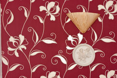 Red floral paper with seal Stock Photo