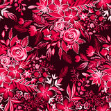 Red floral pattern with ditsy flowers. Beaituful monochrome botanical pattern. Primitive childlike flowers. art illustration Stock Images