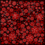 Red floral pattern with lined and colored flowers on dark red background Stock Photo