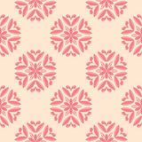 Red floral seamless design on beige background. Red floral design on beige background. Seamless pattern for textile and wallpapers Stock Photos