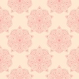 Red floral seamless design on beige background. Red floral design on beige background. Seamless pattern for textile and wallpapers Stock Photography