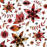 Red floral seamless pattern. Watercolour floral seamless pattern.You can use it for packaging design, textile design and like  illustration for website Royalty Free Stock Photography