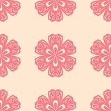 Red floral seamless pattern on beige background Stock Photography