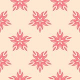 Red floral seamless pattern on beige background. Red floral ornament on beige background. Seamless pattern for textile and wallpapers Stock Image