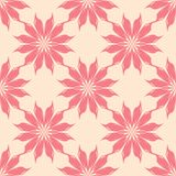 Red floral seamless pattern on beige background Stock Photos