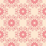 Red floral seamless pattern on beige background Royalty Free Stock Photography