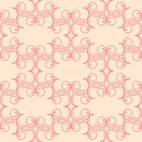 Red floral seamless pattern on beige background. Red floral ornament on beige background. Seamless pattern for textile and wallpapers Stock Images