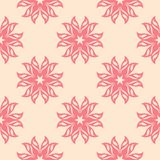 Red floral seamless pattern on beige background. Red floral ornament on beige background. Seamless pattern for textile and wallpapers Royalty Free Stock Photography