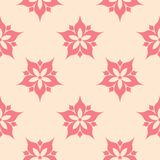 Red floral seamless pattern on beige background. Red floral ornament on beige background. Seamless pattern for textile and wallpapers Royalty Free Stock Images