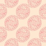 Red floral seamless pattern on beige background. Red floral ornament on beige background. Seamless pattern for textile and wallpapers Royalty Free Stock Photos