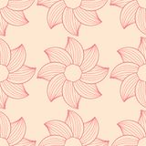 Red floral seamless pattern on beige background. Red floral ornament on beige background. Seamless pattern for textile and wallpapers Stock Photo