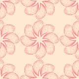 Red floral seamless pattern on beige background. Red floral ornament on beige background. Seamless pattern for textile and wallpapers Stock Photography