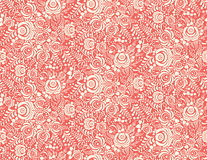 Red floral textile vector seamless pattern in Royalty Free Stock Images