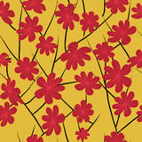 Red floral tile Stock Images