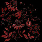 Red floral tracery on black background Royalty Free Stock Images