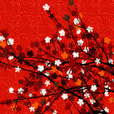 Red floral tree print. Spring theme blossom tree background for print Royalty Free Stock Photo