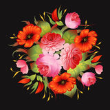 Red floral vintage pattern on black vector Stock Photography